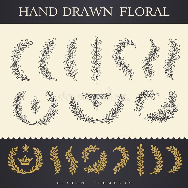 Satz Hand gezeichnete Vektorblumen und -niederlassungen mit Blättern vektor abbildung