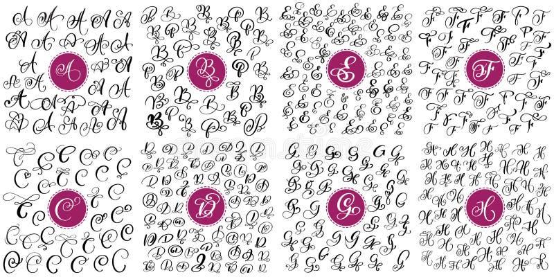 Satz Hand gezeichnete Vektorkalligraphie beschriftet A, B, C, D, E, F, G, H Skriptguß Lokalisierte Briefe geschrieben mit Tinte lizenzfreie abbildung