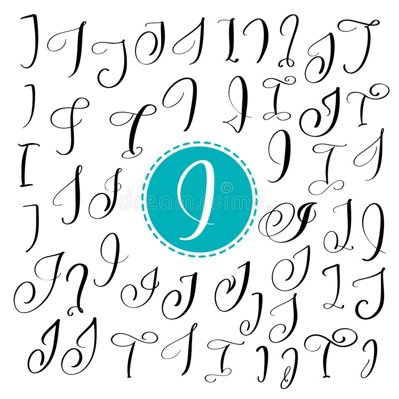Satz Hand gezeichneten Vektorkalligraphiebuchstaben I Skriptguß Lokalisierte Briefe geschrieben mit Tinte stock abbildung