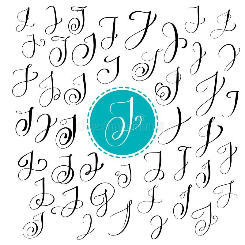 Satz Hand gezeichneten Vektorkalligraphiebuchstaben J Skriptguß Lokalisierte Briefe geschrieben mit Tinte Handgeschriebene Bürste vektor abbildung