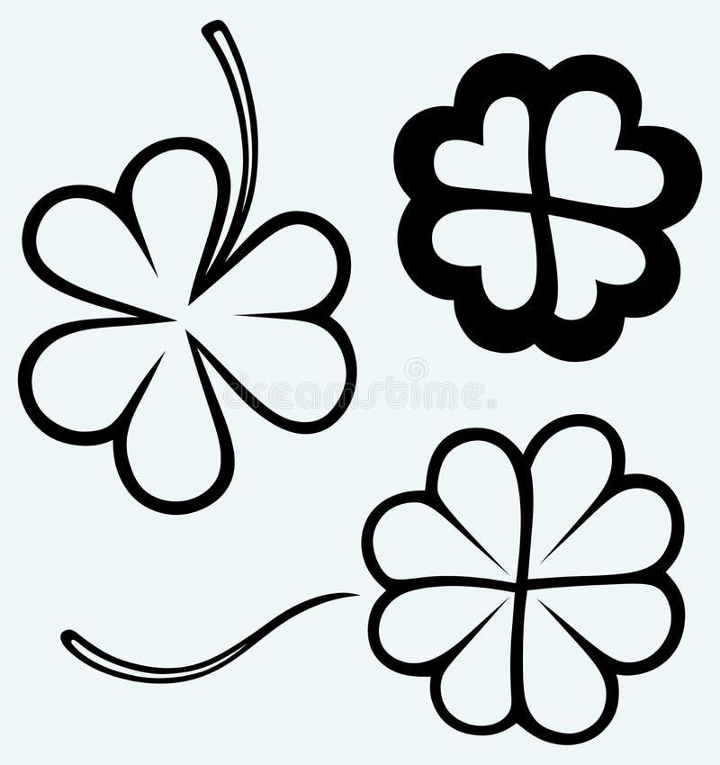 Satz Hand gezeichneter Klee Tag Str lizenzfreie abbildung