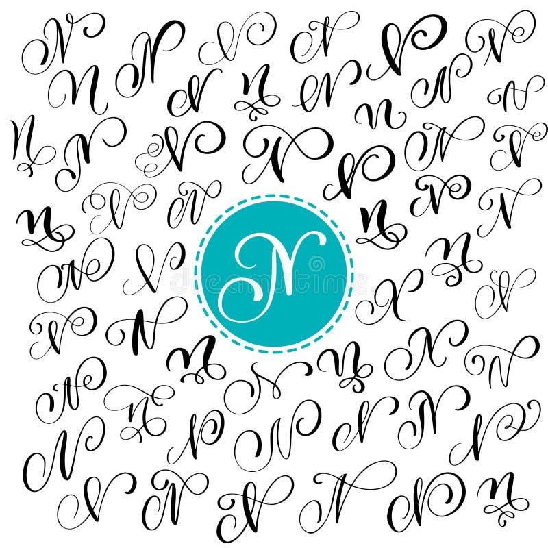 Satz Hand gezeichneter Vektorkalligraphie-Buchstabe N Skriptguß Briefe geschrieben mit Tinte Handgeschriebene Bürstenart stock abbildung