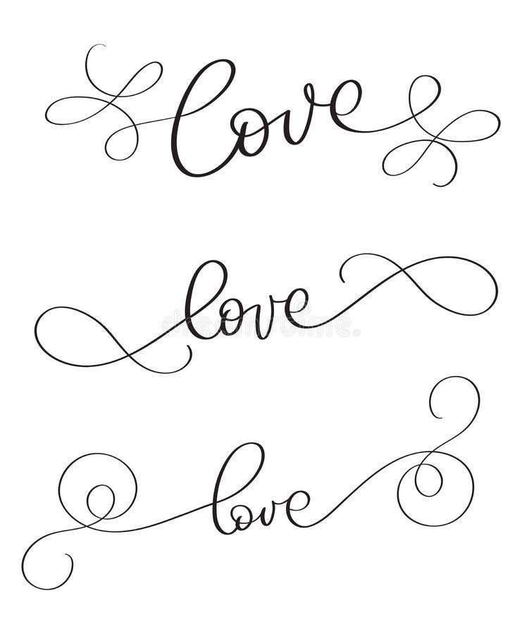 Satz handgemachte Vektorweinlese-Wort Liebe auf weißem Hintergrund Kalligraphiebeschriftungsillustration EPS10 lizenzfreie abbildung
