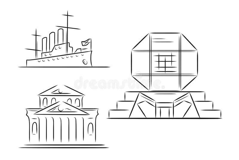 Satz Handgezogene Entwurfsskizzen von berühmten Marksteinen - Bolshoi-Theater in Moskau, Russland, Kreuzer-Aurora in StPetersburg vektor abbildung