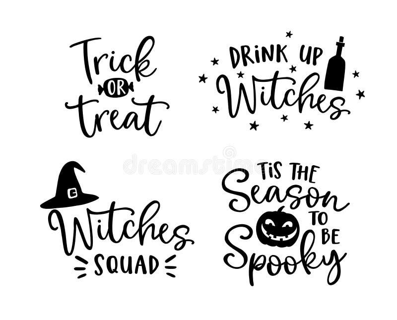 Satz handlettered Halloween-Phrasen Gespenstisches auumn zitiert mit Hexenhut und furchtsamem Kürbisschattenbild Party stock abbildung