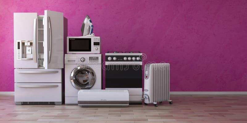 Satz Haushaltsausgangs-appliancess auf rosa Hintergrund Küche te stock abbildung