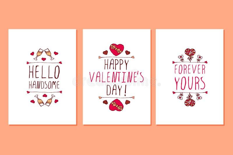 Satz Heilig-Valentinsgrußtageshand gezeichnete Grußkarten stock abbildung
