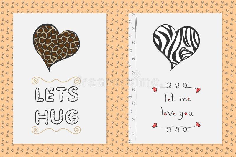Satz Heilig-Valentinsgrußtageshand gezeichnete Grußkarten mit Herzen stock abbildung