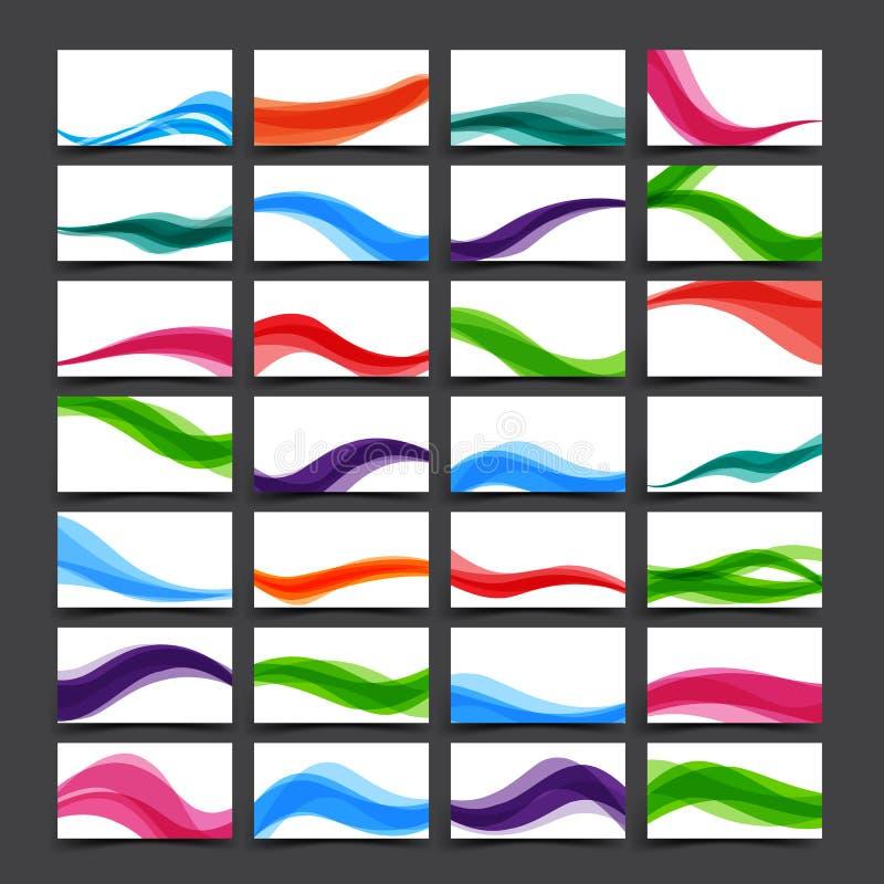 Satz helle Farbe für Visitenkarte und Fahne mit Kurve bewegen wellenartig vektor abbildung