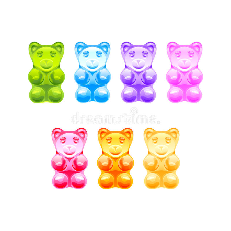 Satz helle farbige gummiartige Bären Vektor lizenzfreies stockbild