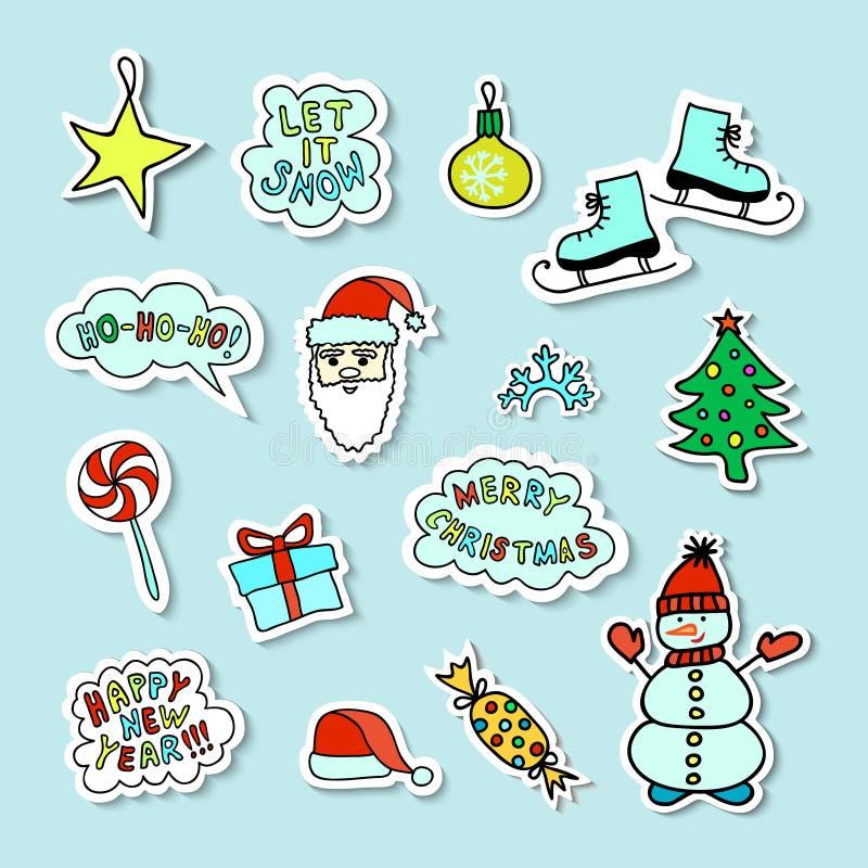 Satz helle Karikatur-Weihnachtsaufkleber stockfotos