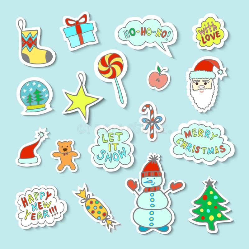 Satz helle und nette Karikatur-Weihnachtsaufkleber mit netten Charakteren und Phrasen lizenzfreie stockfotografie