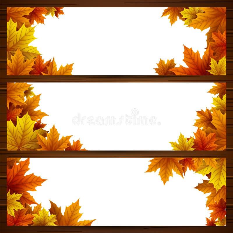 Satz Herbstlaubfahnen stock abbildung