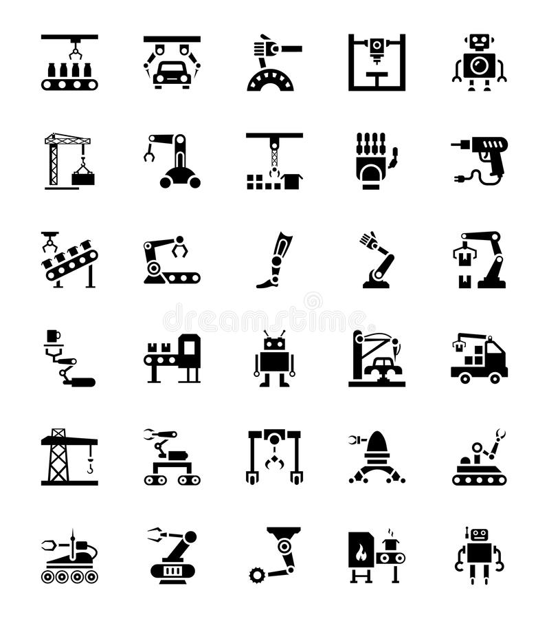 Satz Herstellungs-Robotik stock abbildung