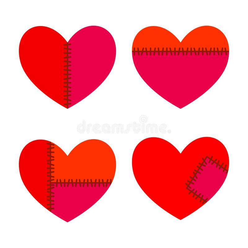 Satz Herzen mit Stichen lizenzfreie abbildung