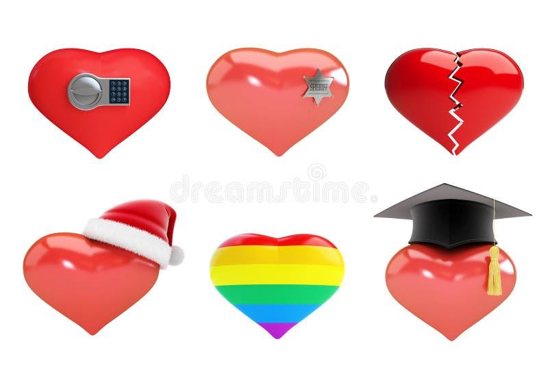 Satz Herzen in Sankt-` s Hut, Sheriff ` s Stern, Herz ist defekter, elektronischer Verschluss, Regenbogenherz stock abbildung