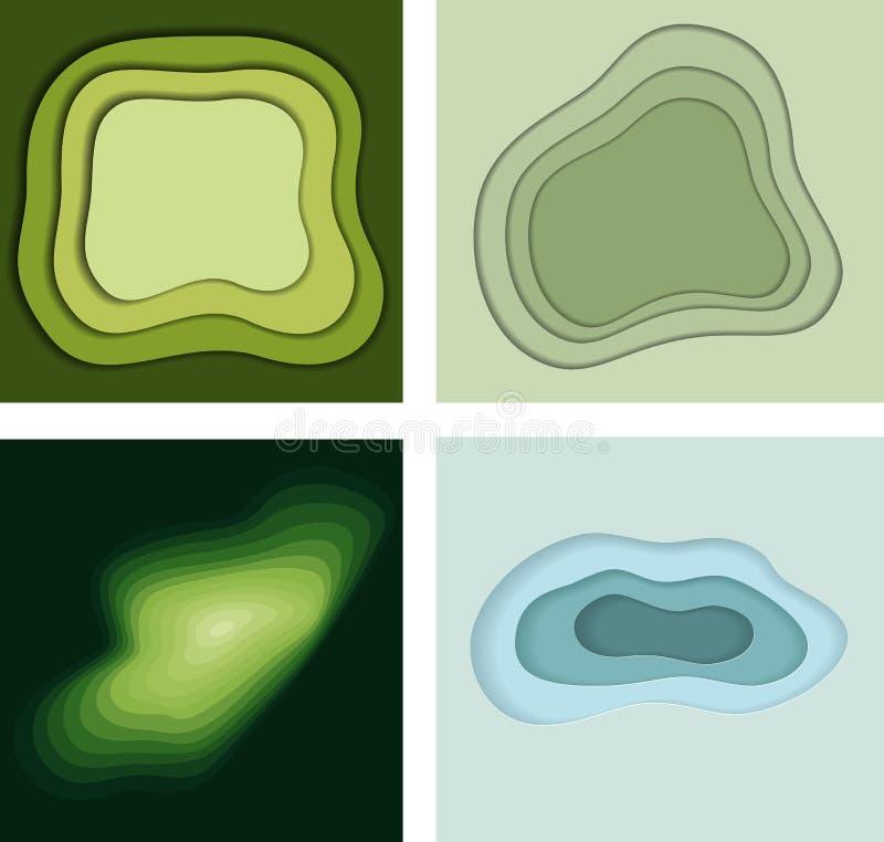 Satz Hintergründe der Zusammenfassung 3D im Papier schnitt Art stockbilder