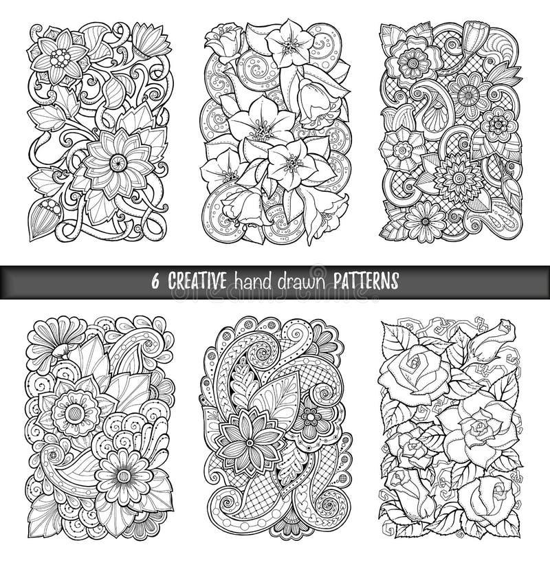 Satz Hintergründe im Vektor mit Gekritzeln, Blumen und Paisley Für Tapete Musterfüllen, Malbücher Rebecca 6 vektor abbildung