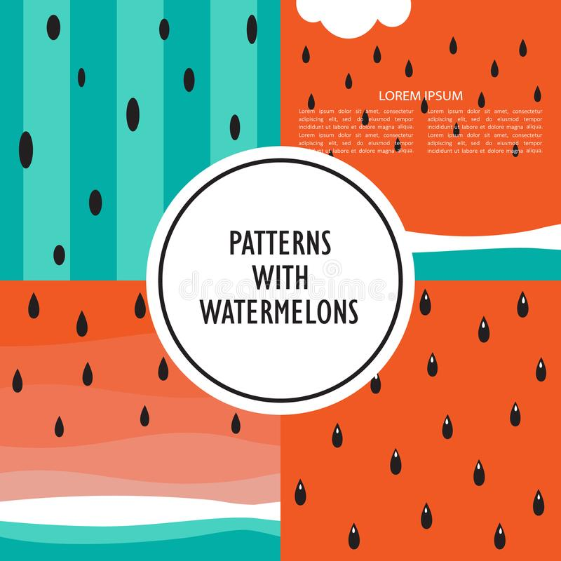 Satz Hintergründe mit Wassermelone lizenzfreie abbildung