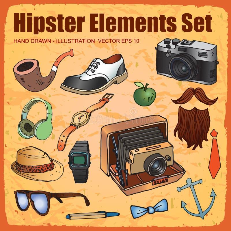 Satz Hippie-Artelemente stock abbildung