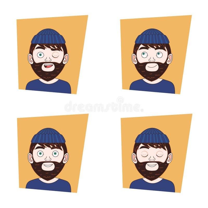 Satz Hippie-Mann-Gesichter mit verschiedenen Ausdrücken bärtiger Guy Emotions Icons Collection lizenzfreie abbildung