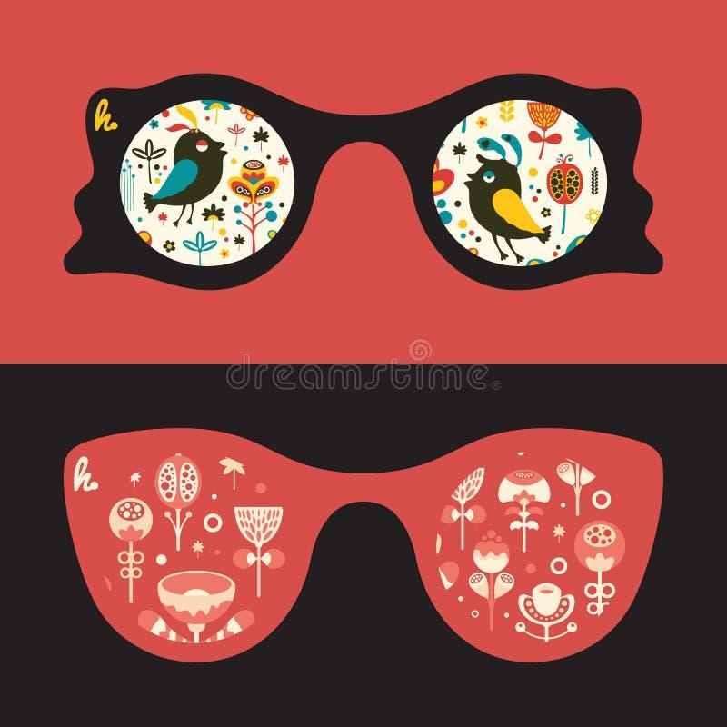 Satz Hippie-Sonnenbrille mit bunten Vögeln und Blumen stock abbildung
