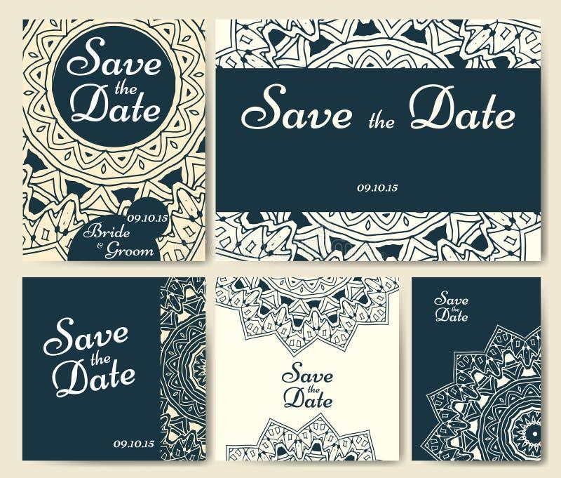 Satz Hochzeitseinladungen Hochzeitskartenschablone mit einzelnem Konzept Entwerfen Sie für Einladung, danke zu kardieren, sparen  stock abbildung