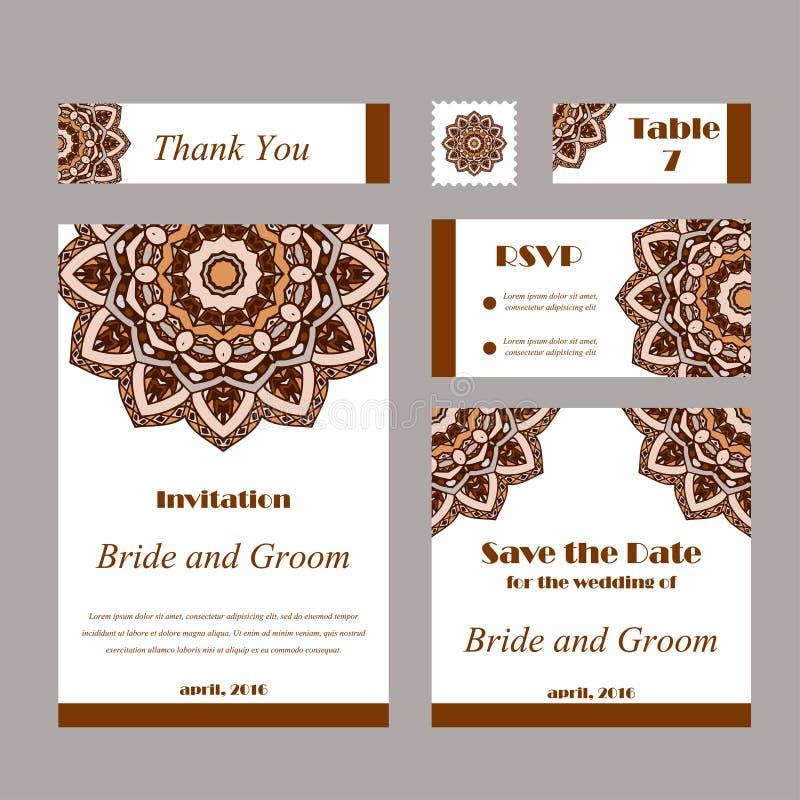 Satz Hochzeitseinladungen Hochzeitskartenschablone mit einzelnem Konzept Entwerfen Sie für Einladung, danke zu kardieren, sparen  lizenzfreie abbildung