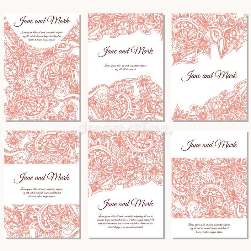 Satz Hochzeitseinladungen Hochzeitskartenschablone mit einzelnem Konzept Entwerfen Sie mit Gekritzeln für Abwehr das Datum, Valen lizenzfreie abbildung