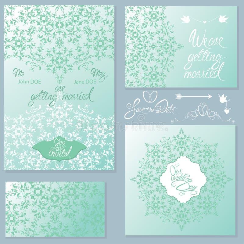 Satz Hochzeitseinladungskarten mit Florenelementen lizenzfreie abbildung