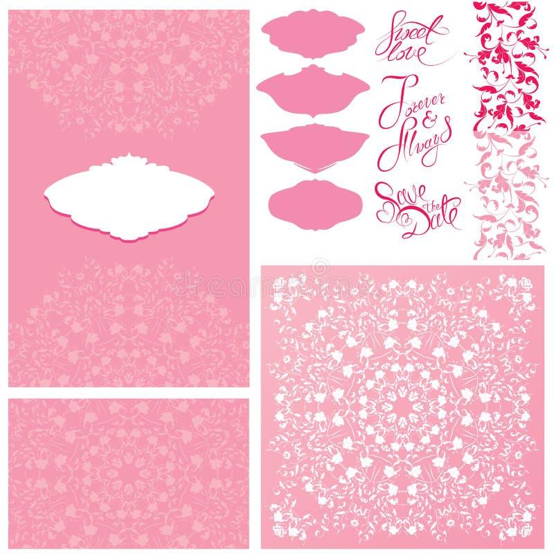 Satz Hochzeitseinladungskarten mit Florenelementen stock abbildung