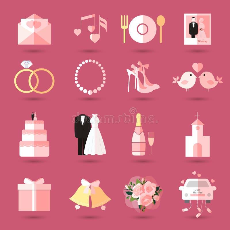 Satz Hochzeitsikonen in der flachen Art stock abbildung