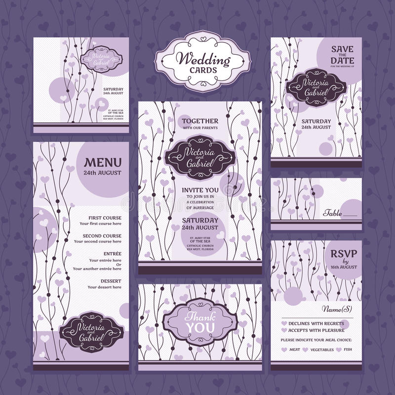 Satz Hochzeitskarten lizenzfreie abbildung
