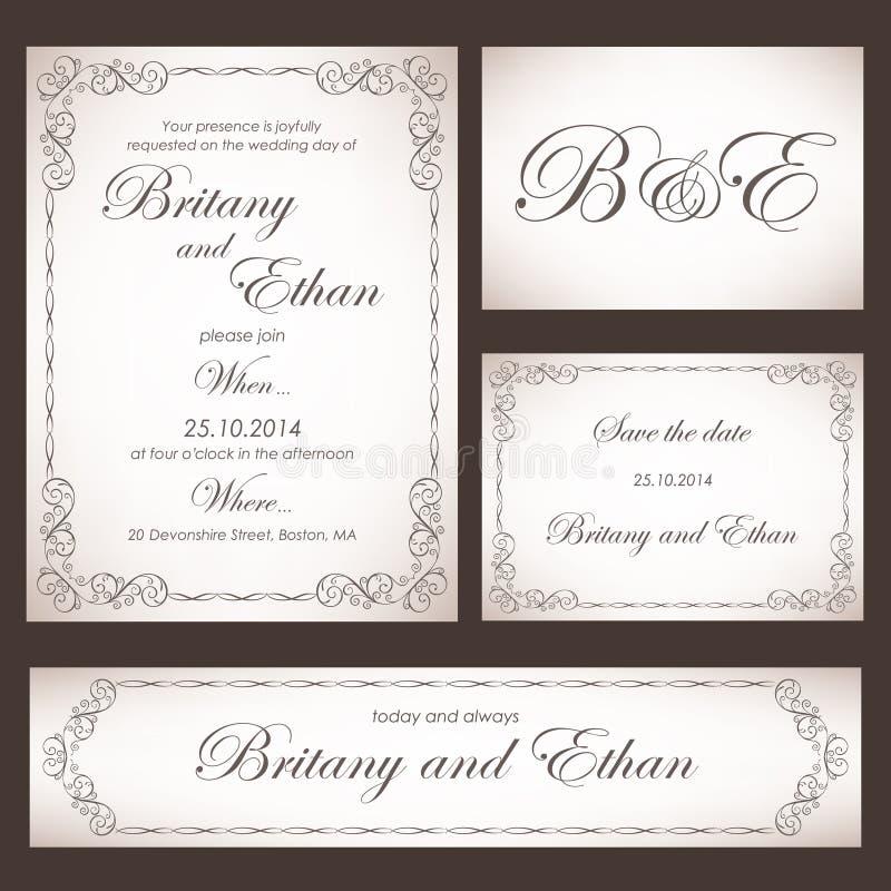 Satz Hochzeitskarten oder -einladungen stock abbildung