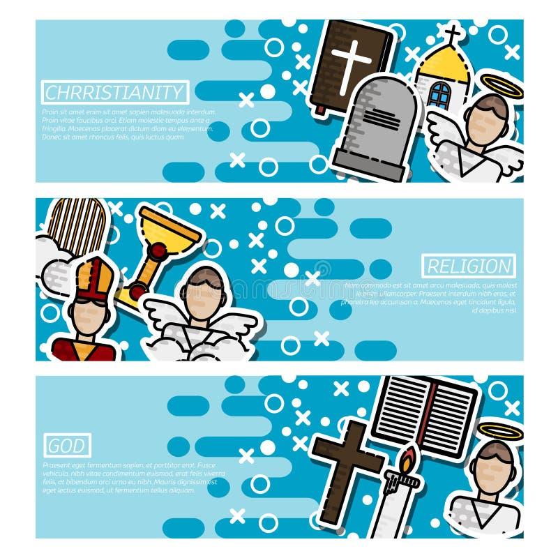 Satz horizontale Fahnen über Christentum stock abbildung