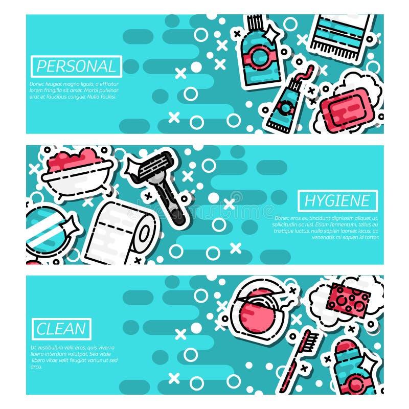 Satz horizontale Fahnen über persönliche Hygiene lizenzfreie abbildung