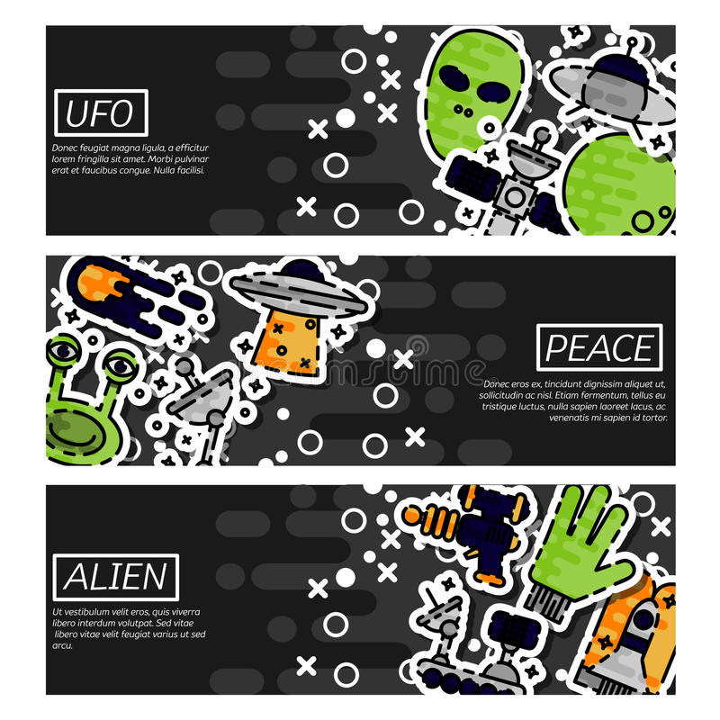 Satz horizontale Fahnen über UFO vektor abbildung