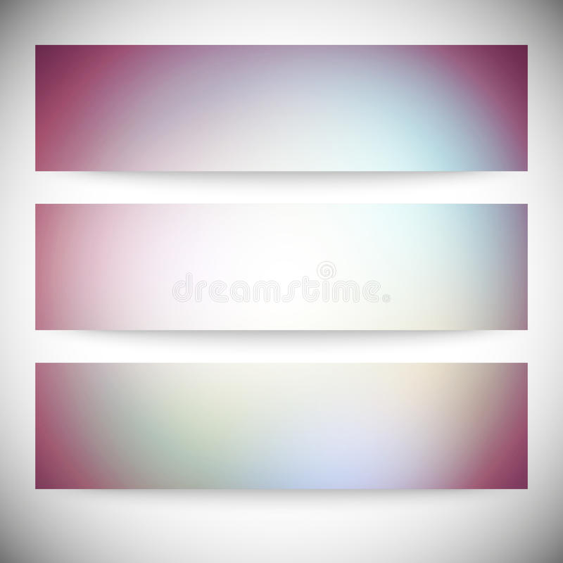 Satz horizontale Fahnen Abstraktes mehrfarbiges stock abbildung