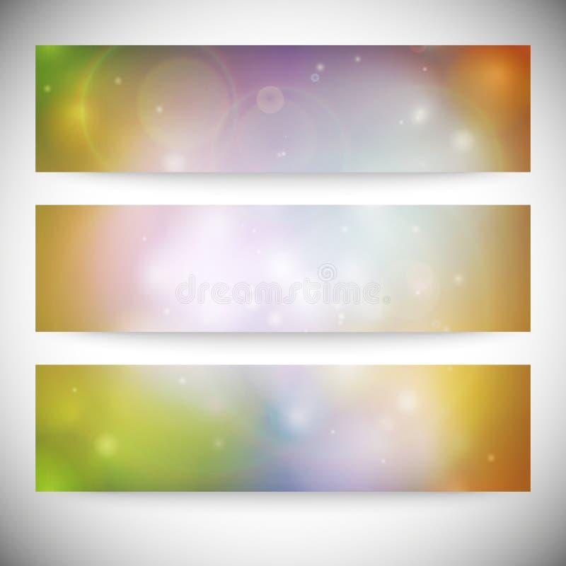 Satz horizontale Fahnen Abstraktes mehrfarbiges vektor abbildung