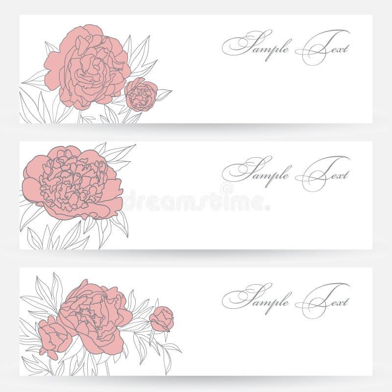 Satz Horizontale Fahnen Mit Blumen Stockfoto