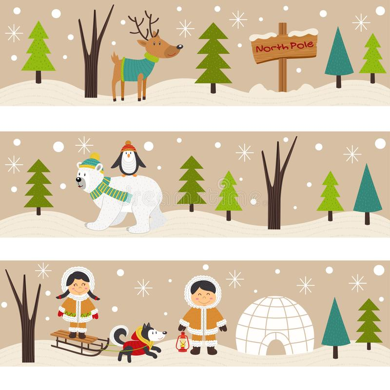 Satz horizontale Fahnen mit Eskimos und polaren Tieren vektor abbildung