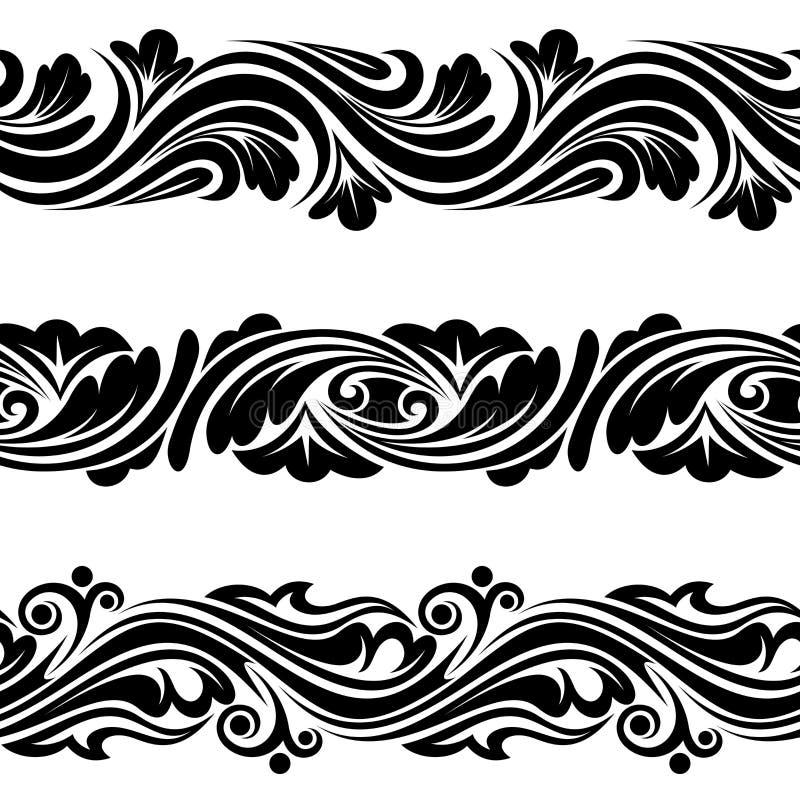 Satz horizontale nahtlose Vignetten der Weinlese. lizenzfreie abbildung