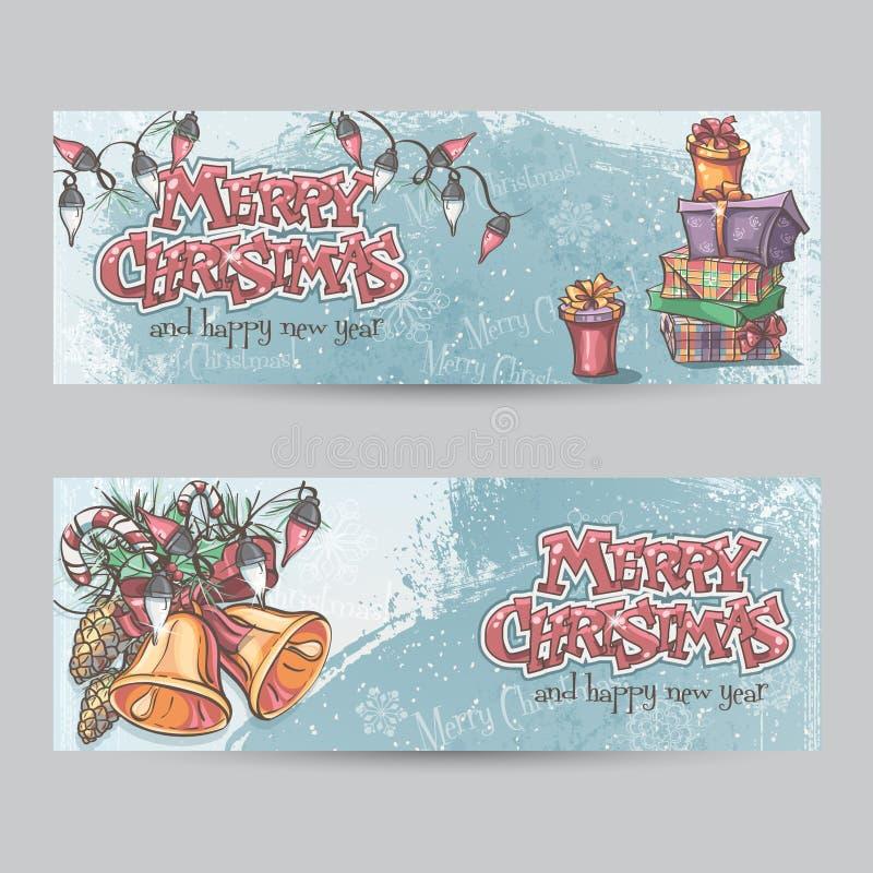 Satz horizontale Weihnachtskarten mit Taschenlampen, Glocken und Gi vektor abbildung