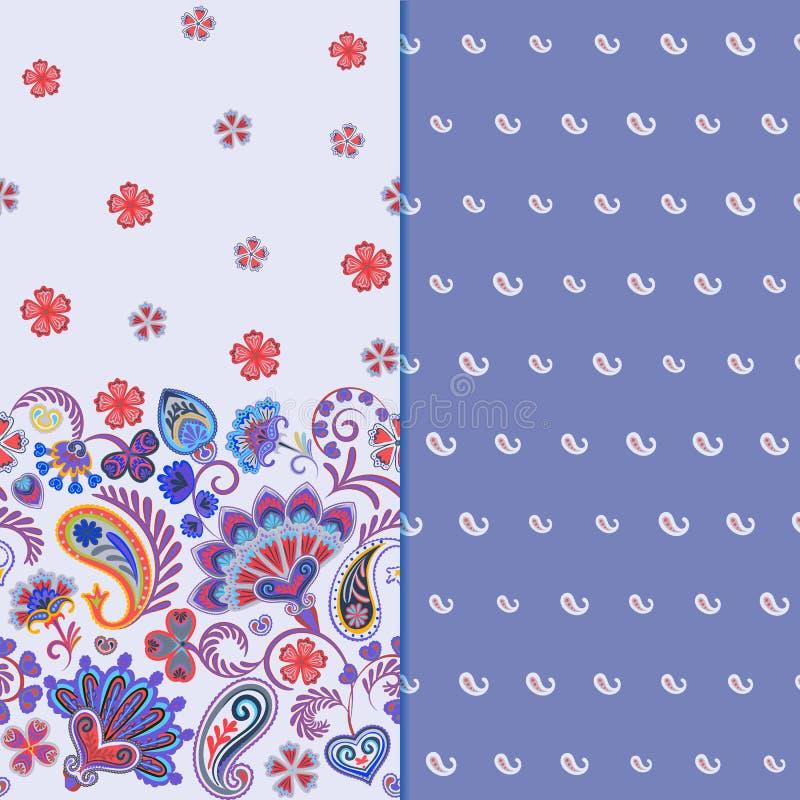 Satz horizontalen nahtlosen Blumenmusters zwei mit Paisley und Fantasie blüht Grenze Hand gezeichnete Beschaffenheit für Kleidung lizenzfreie abbildung