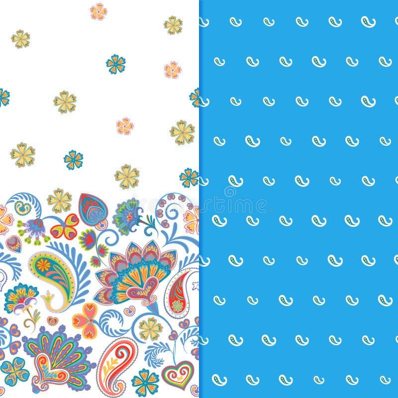Satz horizontalen nahtlosen Blumenmusters zwei mit Paisley und Fantasie blüht Grenze Hand gezeichnete Beschaffenheit für Kleidung stock abbildung