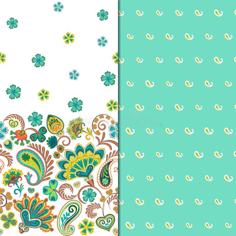 Satz horizontalen nahtlosen Blumenmusters zwei mit Paisley und Fantasie blüht Grenze Hand gezeichnete Beschaffenheit für Kleidung vektor abbildung