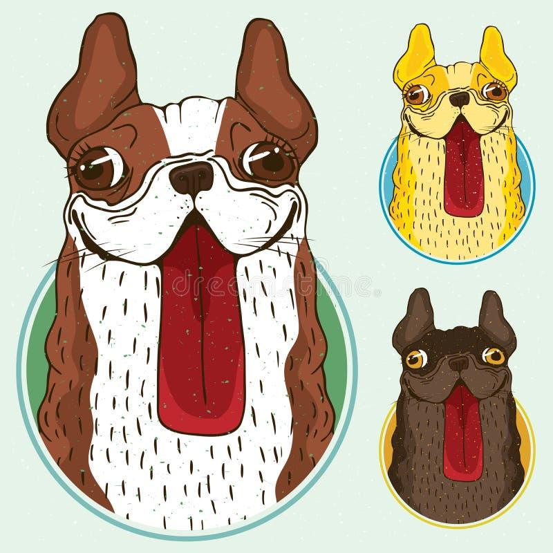Satz Hunde im runden Rahmen lizenzfreie abbildung