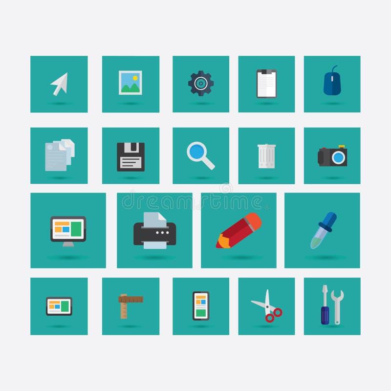Satz Ikonen auf dem Thema des Designs mit Schattengrün stockbild