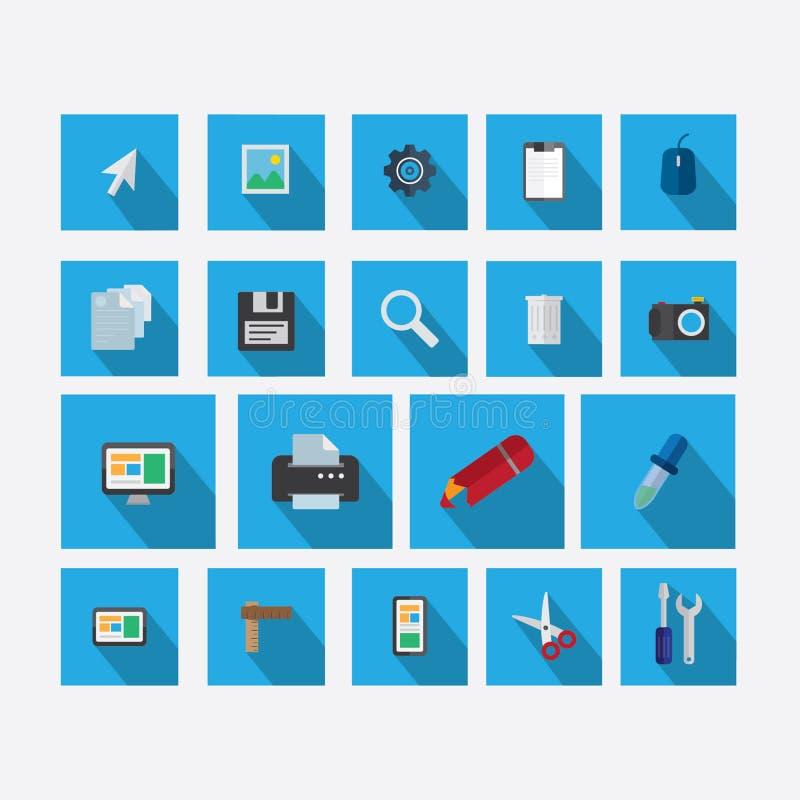 Satz Ikonen auf dem Thema des Designs mit Vektorschattenblau stockbild
