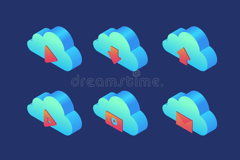 Satz Ikonen auf Thema des Wolkenspeichers: Spieler, Download, Download, Audio, Video und Post lizenzfreie abbildung